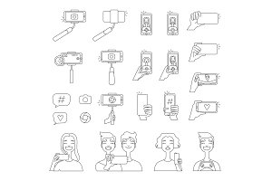 Mono line pictures of various tools for self photography. Selfie concept illustrations