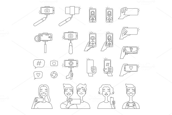 Mono Line Pictures Of Various Tools For Self Photography Selfie Concept Illustrations