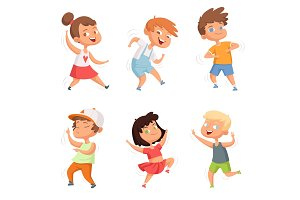Happy childhood. Various funny dancing kids