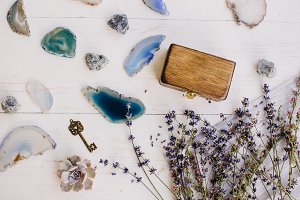 lavender, blue and turquoise stones,