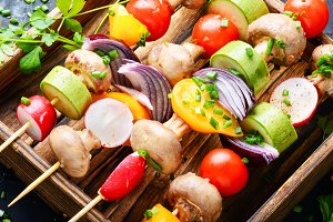 Kebabs,vegetables on skewer