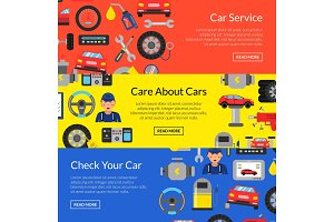 Vector horizontal web banners illustration with flat style car service elements