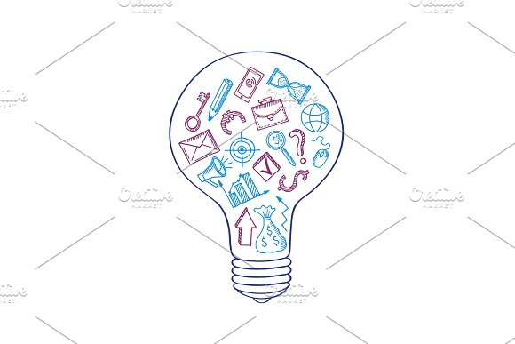 Vector Business Doodle Icons In Lightbulb Concept Illustration