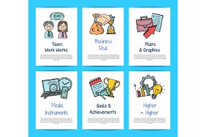 Vector business doodle icons card templates set illustration