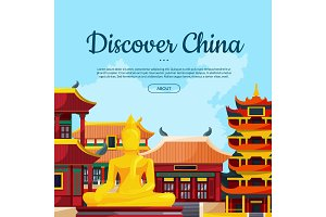 Vector flat style china sights background illustration with place for text
