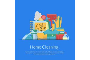 Vector cleaning flat icons in paper pocket background with place for text illustration