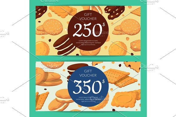 Vector Discount Or Gift Card Voucher Templates With Cartoon Cookies