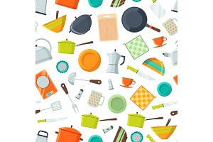 Vector kitchen utensils flat icons background or pattern illustration