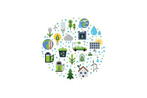 Vector ecology flat icons gathered in circle illustration