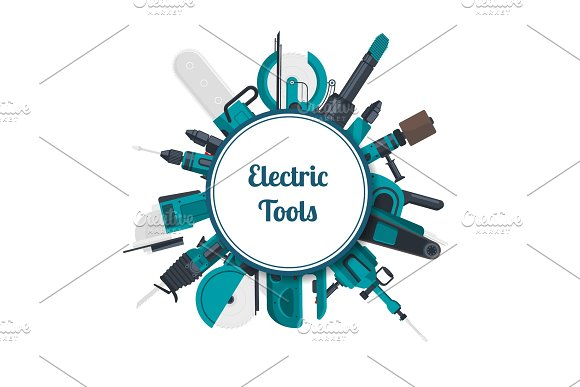 Vector Electric Construction Tools Under Circle With Place For Text Illustration