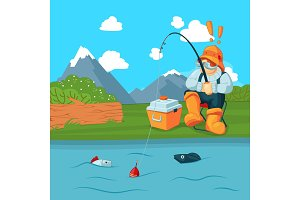 Vector fisherman with fishing road catching a fish on mountain landscape bacgkround concept illustration
