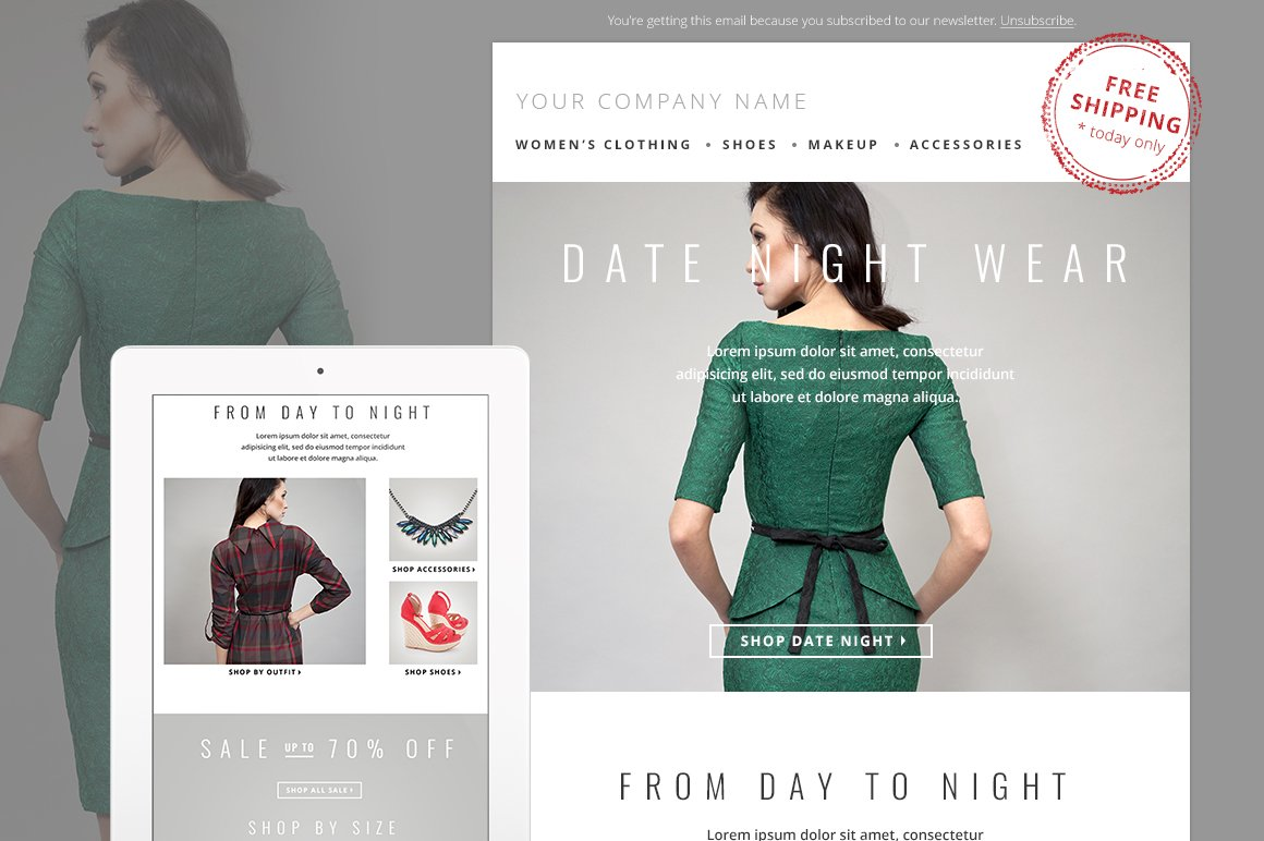 Fashion E-mail Newsletter Template ~ Email Templates ~ Creative Market