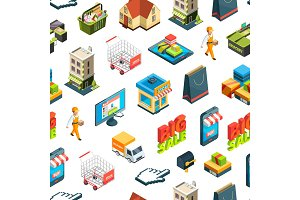 Vector isometric online shopping icons background or pattern illustration