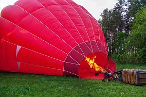 Preparing the balloon for launch.