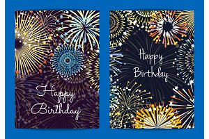 Vector fireworks birthday card templates