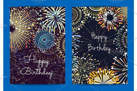 Vector Fireworks Birthday Card Templates