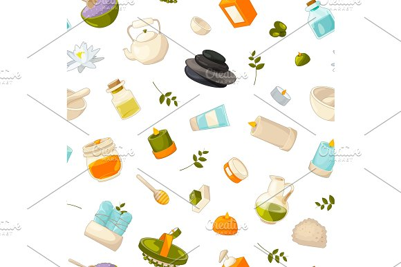 Vector Pattern Or Background Illustration With Cartoon Beauty And Spa Elements