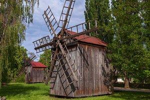 Old wooden windmills