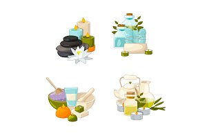 Vector set of cartoon beauty and spa elements piles illustration