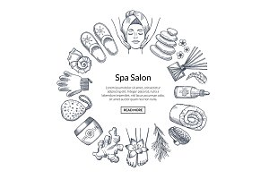 Vector hand drawn spa elements in circle form with place for text in center illustration