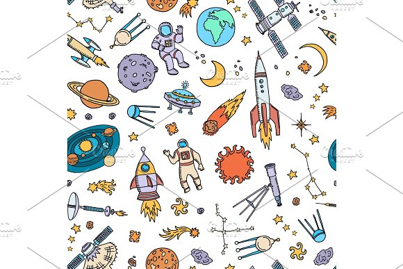 Vector Hand Drawn Space Elements Background Or Pattern Illustration