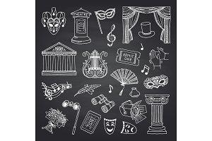 Vector set of doodle theatre elements on black chalkboard illustration