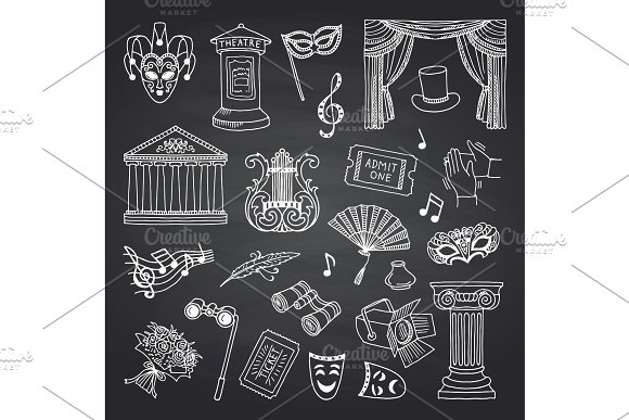 Vector Set Of Doodle Theatre Elements On Black Chalkboard Illustration