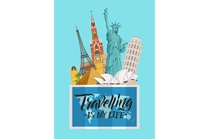 Vector vertical concept illustration with worldwide sights above world map with lettering