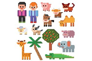 Pixel character vector farm animal pixelart and cartoon animalistic farming signs for 8bit game illustration gamification set of dog pig or elephant isolated on white background