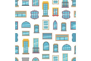Vector window flat icons background or pattern illustration