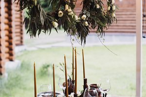 decorated festive table decorated be