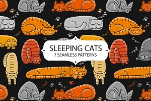 Sleeping cats. Seamless pattern set