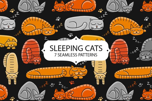Sleeping Cats Seamless Pattern Set
