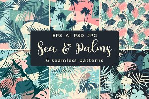 Sea & Palms. 6 seamless patterns.