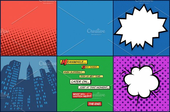 Superhero Comic Pop Art Megapack in Patterns - product preview 4