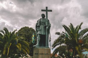 Statue of Pedro Alvares Cabral, navigator who discovered the land of Brazil in 1500, in his native town Belmonte