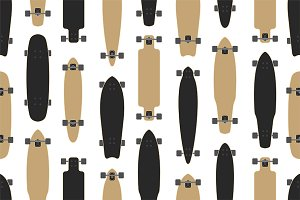 Seamless pattern with skateboards