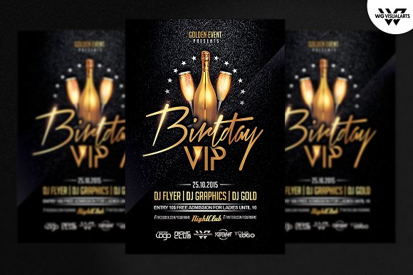birthday vip flyer template flyer templates creative market