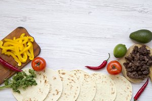 Tortillas with ingredients