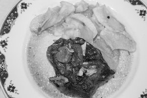 Oven Lamb with Chips in Black White