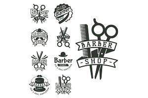 Vintage barber vector logo retro style haircutter typography flourishes calligraphic barbershop icon illustration.