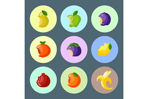 Bitten fruits vector vitamin food and vegetable cut nutrition agriculture bited by tooth fruits stamp delicious snack illustration