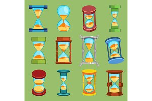 Sandglass vector watches time glass tools icons set, time hourglass sand clock flat design history second old object illustration sand-clocks hourglass timer hour minute watch countdown flow measure