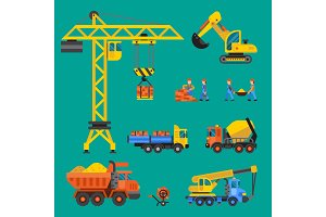 Building under construction vector crane and workers buildings construction technic illustration. Mixer truck builders people. Under construction concept. Workers in helmet tech machine isolated