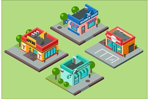 Vector isometric city buildings kiosk convenience store supermarket. Barbershop, pharmacy, beauty salon, fitness gym and shop supermarket mall center urban business isometric construction illustration