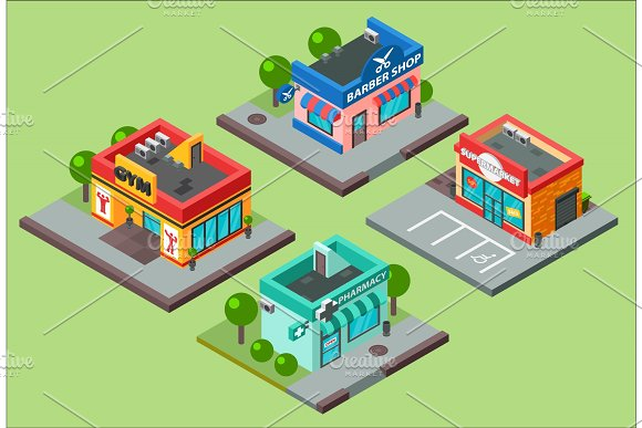 Vector Isometric City Buildings Kiosk Convenience Store Supermarket Barbershop Pharmacy Beauty Salon Fitness Gym And Shop Supermarket Mall Center Urban Business Isometric Construction Illustration