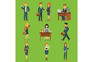 Business people vector characters sitting, meeting, search job candidates cartoon characters office table for job interview, calling by phone businesswoman and businessman illustration
