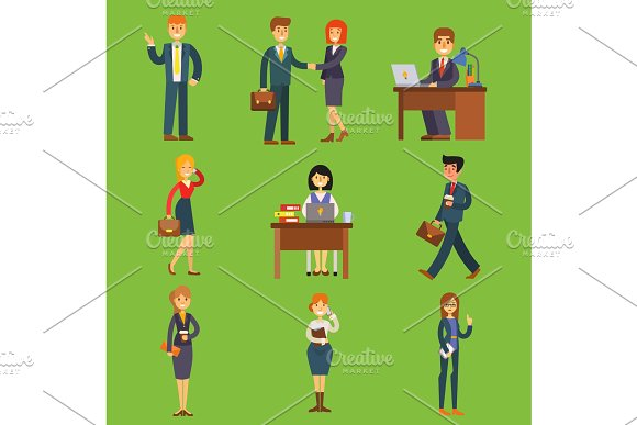 Business People Vector Characters Sitting Meeting Search Job Candidates Cartoon Characters Office Table For Job Interview Calling By Phone Businesswoman And Businessman Illustration