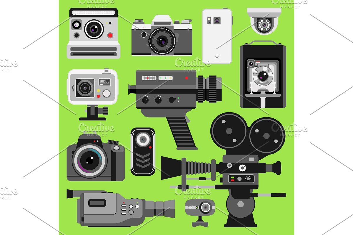 Photo video vector camera tools optic lenses set  Different types  photo-objective retro video-equipment, professional movie film making  technic