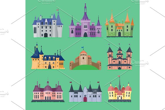 Cartoon Fairy Tale Vector Castle Key-stone Palace Tower Icon Knight Medieval Architecture Castle Building Illustration Fantasy Old Fortress Kingdom Stronghold Royal Chess